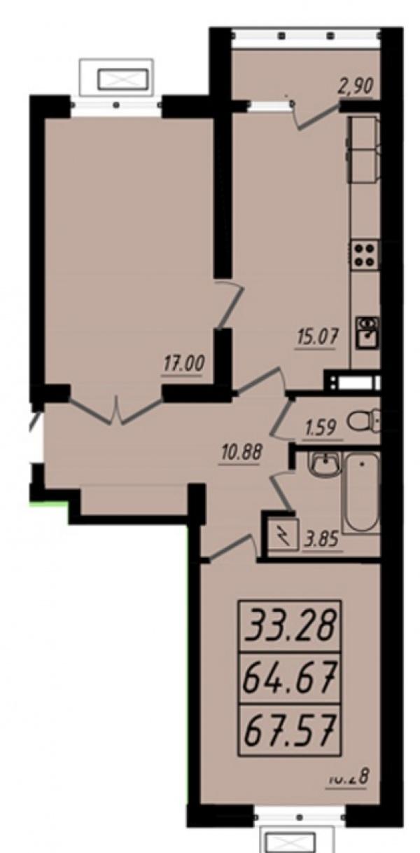 Планировки двухкомнатных квартир 67.57 м^2